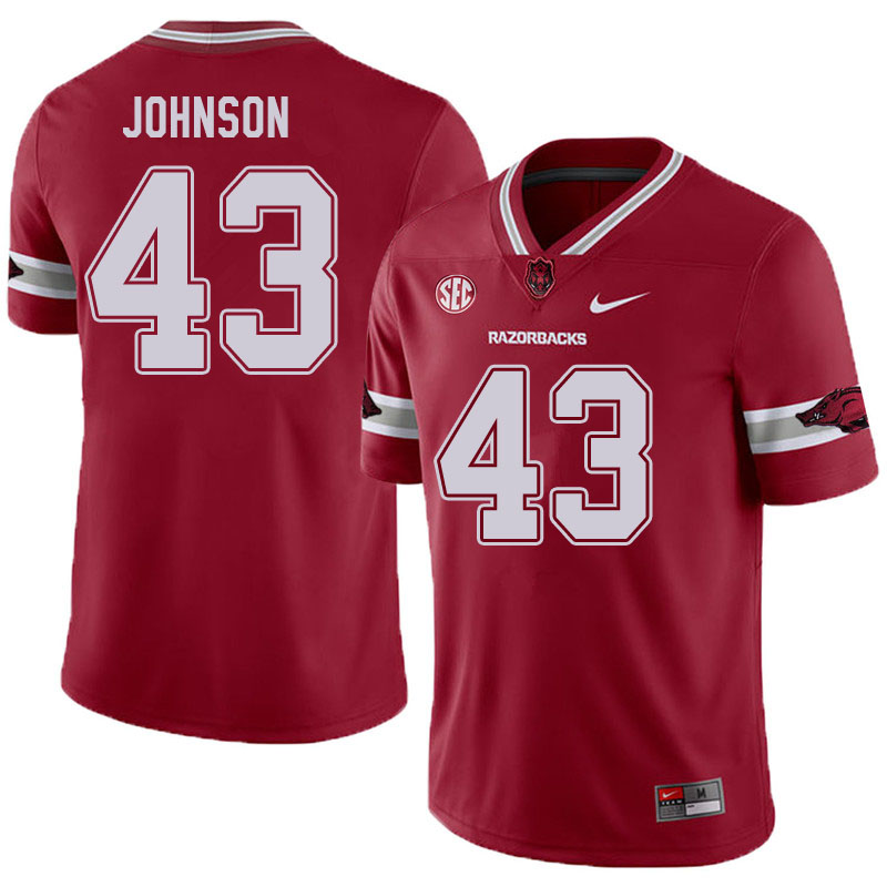 Men #43 Cedric Johnson Arkansas Razorbacks College Football Jerseys Sale-Alternate