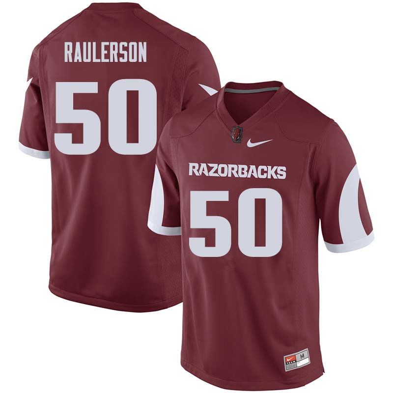 Men #50 Jake Raulerson Arkansas Razorback College Football Jerseys Sale-Cardinal